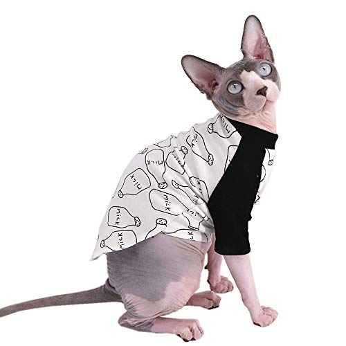 Sphynx Hairless Cat Cute Breathable Summer Cotton T-Shirts Milk Bottle Pattern Pet Clothes,Round Collar Vest Kitten…