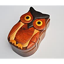 Hand Carved in Vietnam Wooden Puzzle Box- Intarsia Wood Art - Owl II