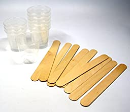NSI 10 2oz Graduated Cups and 10 Wood Stir Sticks for Mixing Small Batches of Paint, Stain, Epoxy, Resin