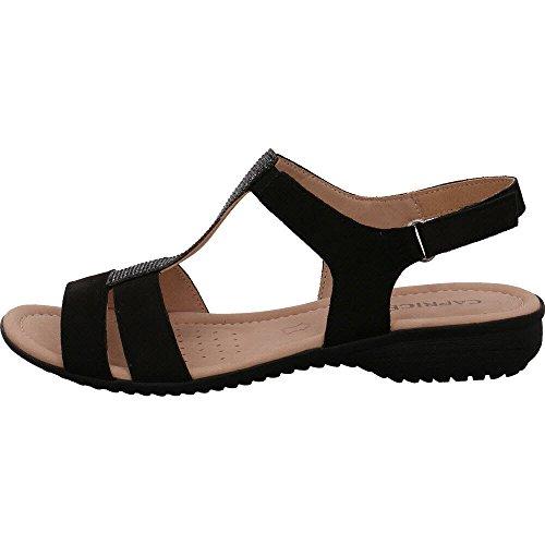 Caprice Sandalette Sort Nubuc 5PHAkeek