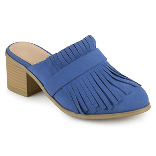 Journee Collection Womens Fringe Stacked Heel Mules Blue XxeUTuc2