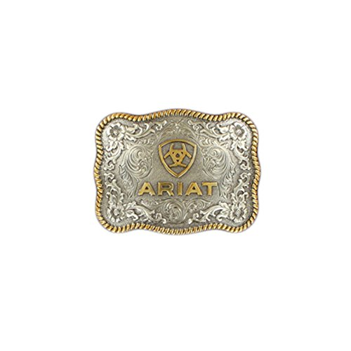 Ariat Men's Rectangle Round Edge Belt Buckle, Silver, Gold, OS (Buckle Belt Rectangle)