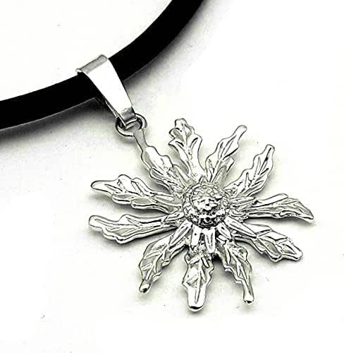 Colgante Eguzkilore de plata- collar con flor de Eguzkilore - Amuleto de protección - étnico -