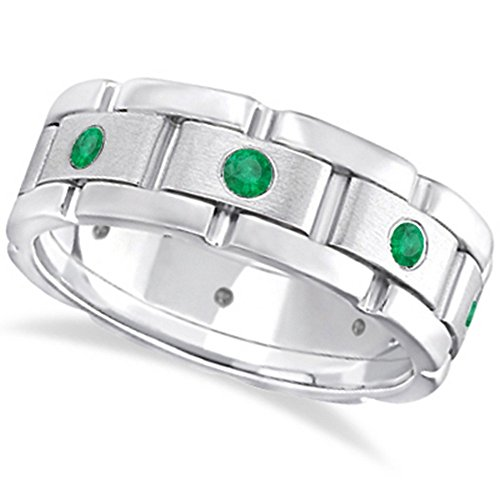 Mens Wide Band Emerald Eternity Wedding Ring with 8 Emeralds 18kt White Gold (0.80ct) -