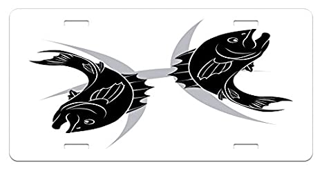 Amazon com: Lunarable Zodiac Pisces License Plate, Monochrome Fish