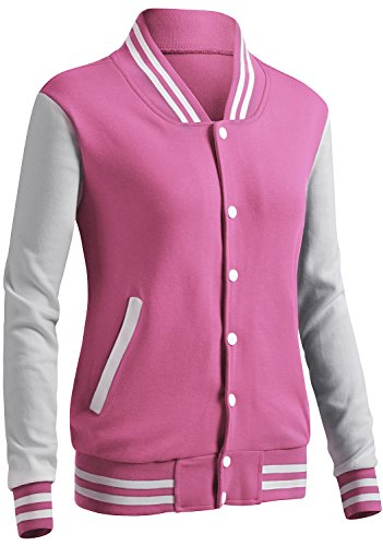 CLOVERY Women's Varsity Uniform Long Sleeve Jacket Pink S