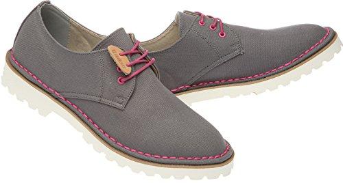 Gadae-026 Unisexe Décontracté 3 Trous Toile Robe Mocassins Chaussures Gris