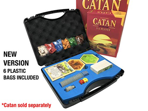 Citadel Black Compact Catan Carrying Case Fits Catan 5th Edition and 5-6 Player Extension, Hard Plastic Traveling Case with Shake-Proof and Quick Setup Design, New Version with Bags Included