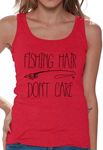 Messy Single Rod (Awkward Styles Women's Fishing Hair Don`t Care Tank Tops For Women With A Fishing Rod Red M)