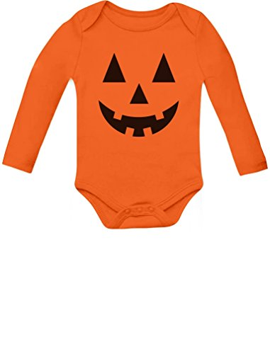 Cute Little Pumpkin - Halloween Infant Jack O' Lantern Baby Long Sleeve Bodysuit 6M Orange -