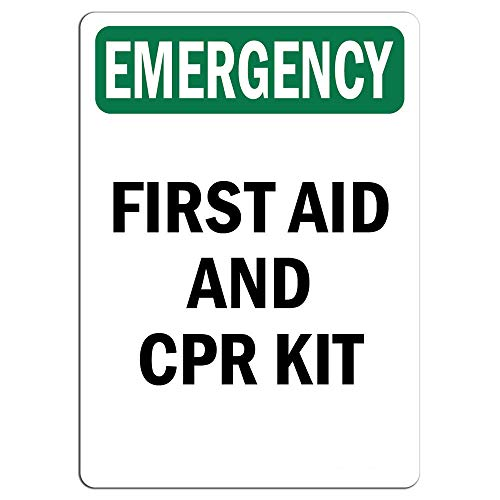 Emergency Sign - First Aid and CPR Kit |  Label Decal Sticker Retail Store Sign Sticks to Any Surface 8