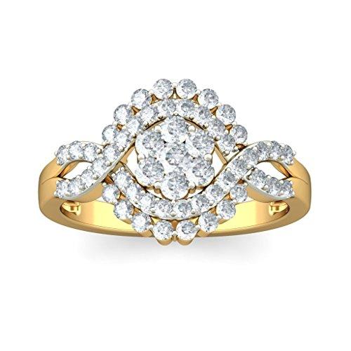 Or jaune 18K, 0,7carat Diamant Blanc (IJ   SI) en diamant