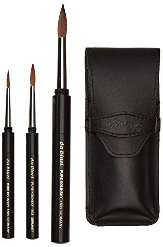 da Vinci Travel Series Maestro Watercolor Brush Set, Round Kolinsky Red Sable with Travel Case, 3 Brushes