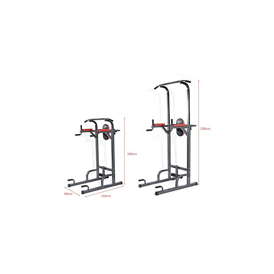 TOMSHOO Adjustable Sturdy Steel Pull Up Stand Rack Push Up Pull Knee Raise Multi Station Power Tower Muscle Strength Toner Home Gym Workout Fitness Equipment