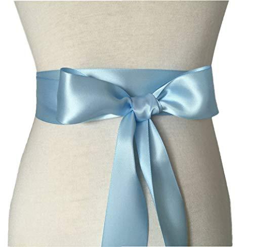 Wedding Sash Bridal Belts Simple Classic Silk Ribbon Sash for Dress (Sky Blue)