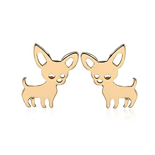 Tiny Chihuahua Pet Post Earrings for Women Cute Dog Puppy Stud Earrings Love My Pet Jewelry Animal Earring (Gold)