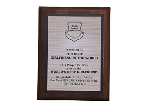 Aahs Engraving Worlds Greatest Plaques (Best Girlfriend in The World, Silver) by Aahs Engraving