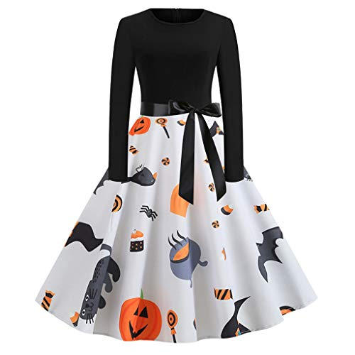 KLFGJ Women Halloween Vintage Dresses Long Sleeve