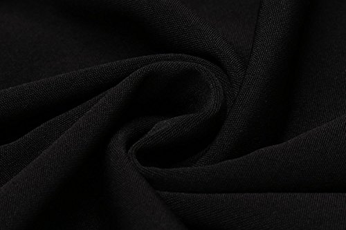 Pocket Ruffle Waist Solid Long Women ACEVOG Casual Sleeve Pullover O s Dress Neck Black 16AvqSnv