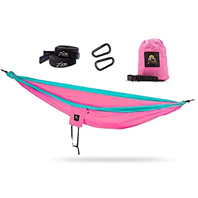 Zion Sports Outdoor Camping Hammock - Portable Double Hammock with Tree Straps and Carabiners for Hiking, Beach, Backpacking, Sleeping, Travel (Load Capacity of 800 lbs): Sports & Outdoors
