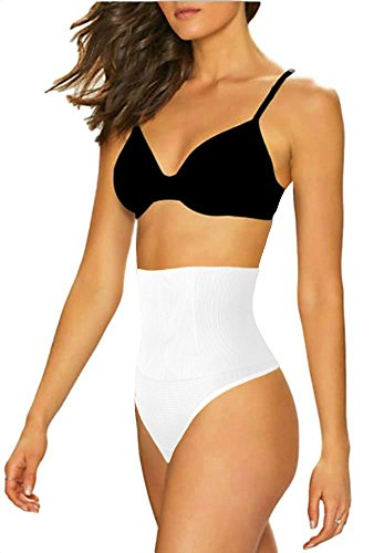 ShaperQueen 102B Thong - Women Waist Cincher Girdle Tummy Slimmer Sexy Thong Panty Shapewear (XL, White)