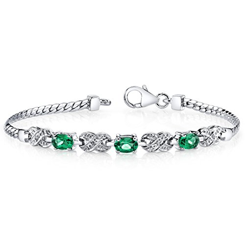 Simulated Emerald Bracelet Sterling Silver CZ Accent