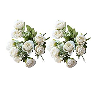 simoce 2pcs Artificial Flowers Silk Flowers Artificial 10 Heads Rose Bouquet for Home Bridal Wedding Party Festival Bar Decoration (White)
