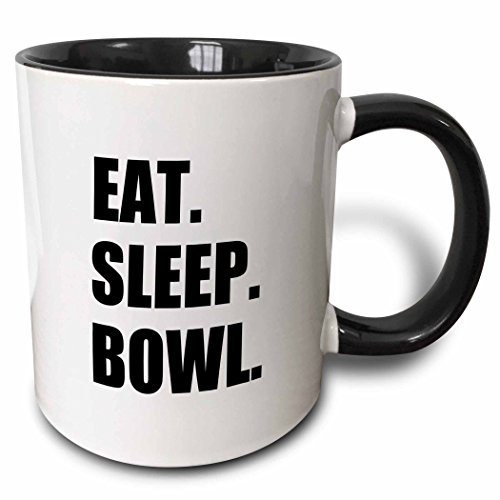 3dRose 180386_4 Eat Sleep Passionate About Bowling Bowler Black Typography Text Two Tone Mug, 11 oz,