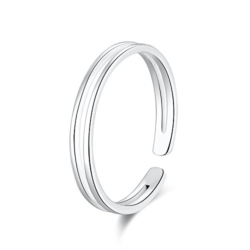 (SILBERTALE 925 Sterling Silver Thin Line Minimalist Open Cuff Toe Ring Band Adjustable for Women Girls Size 2-4)