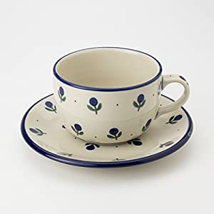 Polish Pottery Teacup and Saucer – Sloeberry – 200ml