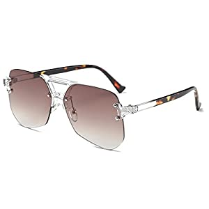 Amomoma Oversized Eyewear Rimless Sunglasses with Mirrored/Clear Lens Glasses AM2007S Gradient Brown Lens