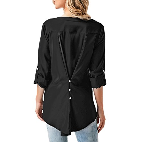 Sleeve Long Shirt Casual Shirts V Tops Black Womens Neck Blouses Yalatan Solid Lace Aq4BaA
