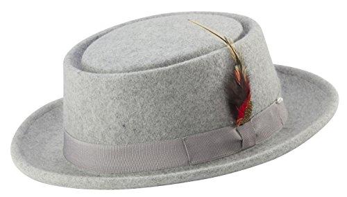 MONTIQUE Pork Pie Men's Felt Hat (Smal, Grey)