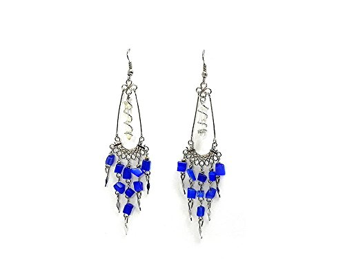 Blue Stone Chandelier - Wire Wrapped Quartz Crystal Chip Stone Chandelier Dangle Earrings (Blue)