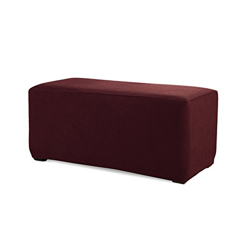 Subrtex Stretch Storage Ottoman Slipcover Spandex Elastic Rectangle Footstool Sofa Cover for Living Room (Small, Wine)