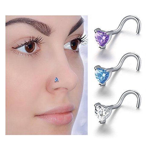Body Jewelry S925 Sterling Silver Nose Hoop Ring 8mm (CZ heart 3 pieces) ()