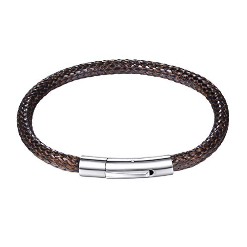 Leather Bracelets for Men Women 5MM Width Brown Waterproof Soft Braided Woven Wax Cord Rope Bangle Bracelets with Stainless Steel Durable Snap Clasp Wristband Wrist Cuff Bracelet (Length 7 Inch/18CM) ()