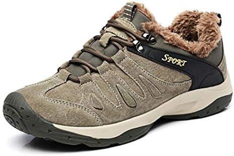 メンズプラスベルベットのハイキングシューズ滑り止めの暖かい旅行用ウォーキングシューズ秋と冬のハイキングブーツ、アウトドア狩猟と雪と氷の天候 (Color : Khaki, Size : 42)