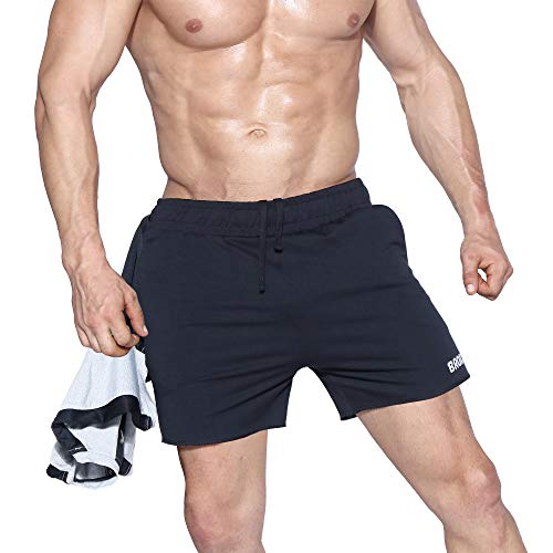 BROKIG Mens Freeflow Gym Workout Shorts 5 Bodybuilding Running Shorts Pants with Zipper Pockets【Free Cooling Towel】(Black,Medium)