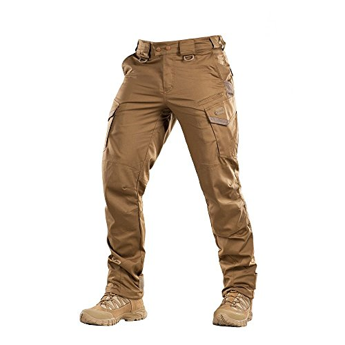 Aggressor Flex - Tactical Pants - Men Cotton Cargo Pockets (Coyote Brown, S/L)