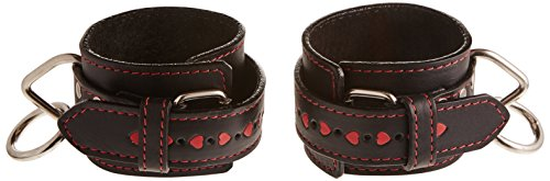 Heart 2 Heart Restraint Wrist Leather with Red Hearts Inlay