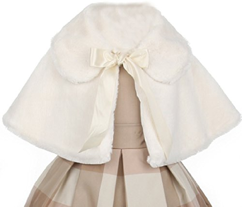 Flower Girl Jacket Super Cute Faux Fur Cape & Satin Tie for Big Girl Ivory 12 SC.12K by Aki_Dress