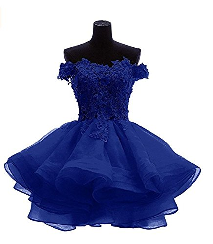 ANGELA Organza Shoulder Women's Off The Homecoming Dresses Royal Prom Blue Short rtIrAqw