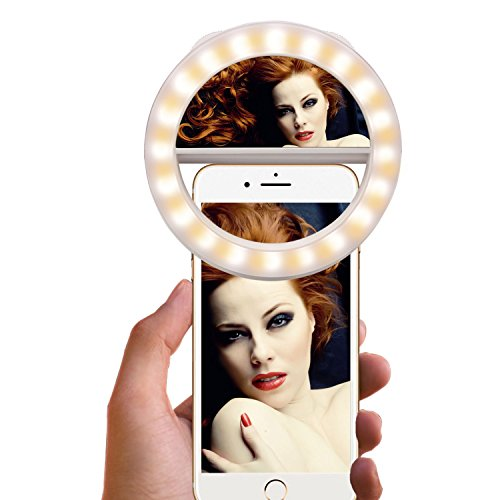 Selfie Ring Light [Rechargeable Battery] Selfie LED Light with Makeup Mirror 40 LED [Warm &White] Lighting for Phone Camera Photography, Live Streaming, Video-White ()