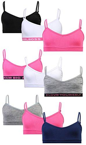 Sweet & Sassy Girls Seamless V-Neck Bra 9 Pack, Dream Big, Small / 30A -
