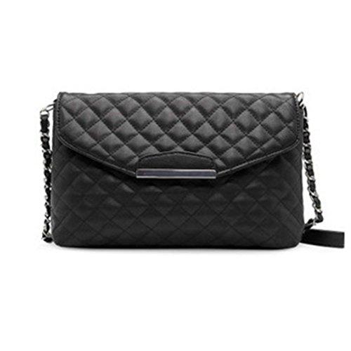 Black Double Grained Black Crossbody Shoulder Classic Metal Quilted Flap Designer Handbag Bag Chain Women's RngYOx