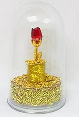 Amazoncom Beauty and The Beast Cake Topper Plastic Dome Glass