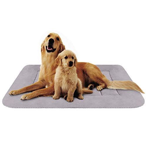 Hero Dog Large Dog Bed 47 inch Crate Pad Mat Washable Non Slip Pet Beds for Sleeping Grey XL (Dog Beds For Extra Large Crate)