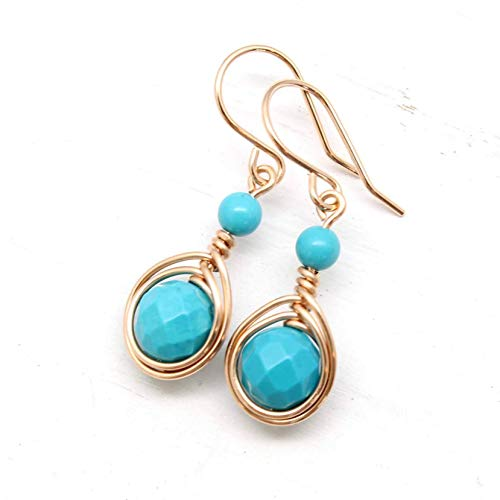 Earrings Turquoise Gold Rose (Rose Gold Handmade Wire Wrapped Earrings with Turquoise gemstones)