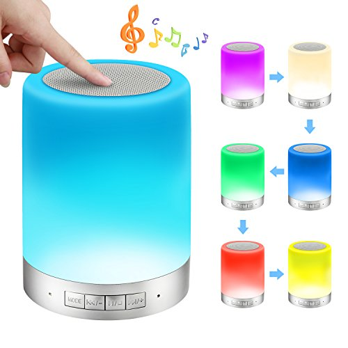 Bedside Lamp, ALECTIDE Table Lamp Touch Sensor for Bedroom, Warm Night Light and Dimmable RGB Color Changing with Blue (old)